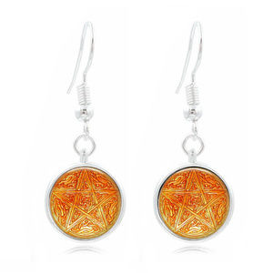 Pentagram Embossed Looking Glass Cabochon Earrings